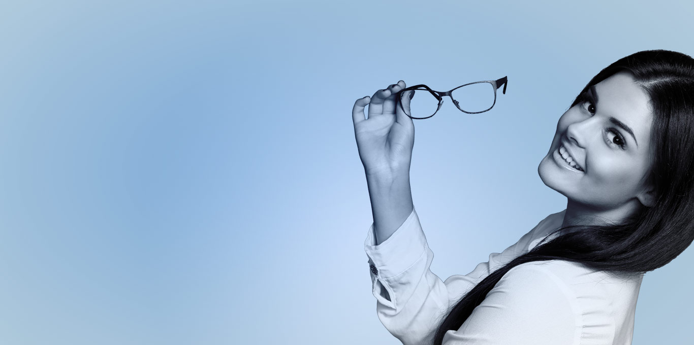 Main banner image, a girl removing specs