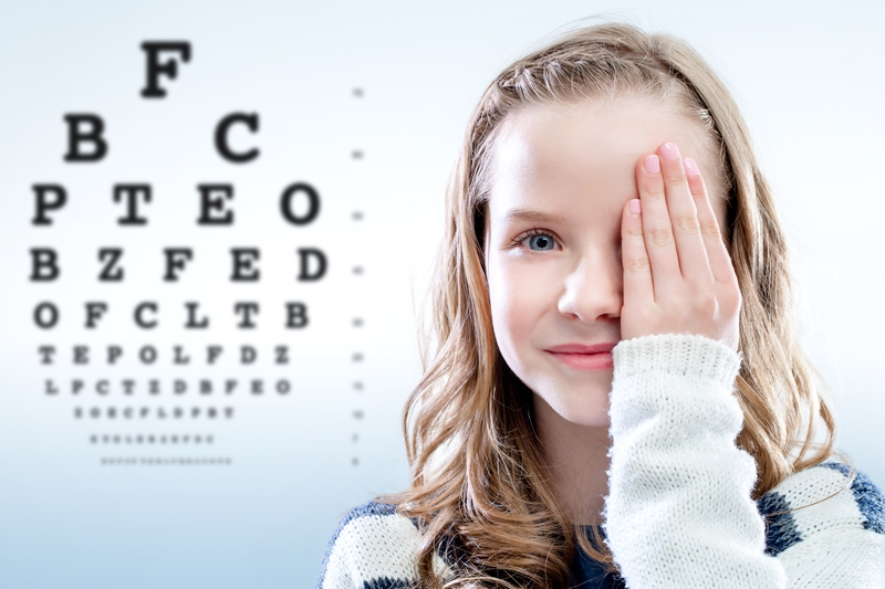 vision test for a small girl